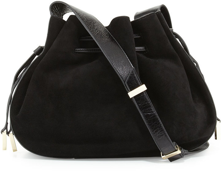 c49b74711a ... Halston Heritage Glazed Leather Suede Bucket Bag Black ...