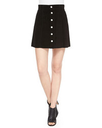 AG Jeans Ag The Gove Pleated Suede Skirt Super Black