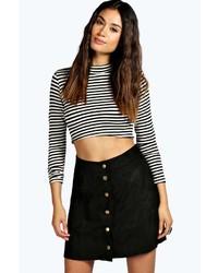 Boohoo Bella Button Front A Line Suedette Mini Skirt