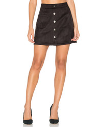 Bishop + Young Suede Button Down Mini Skirt