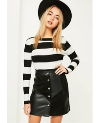 Missguided Black Faux Leather Suede Patchwork Skirt