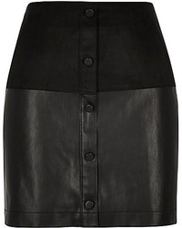 River Island Black Faux Suede Button Up Mini Skirt