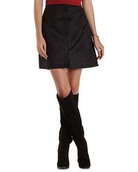 Charlotte Russe Button Up Faux Suede Skirt