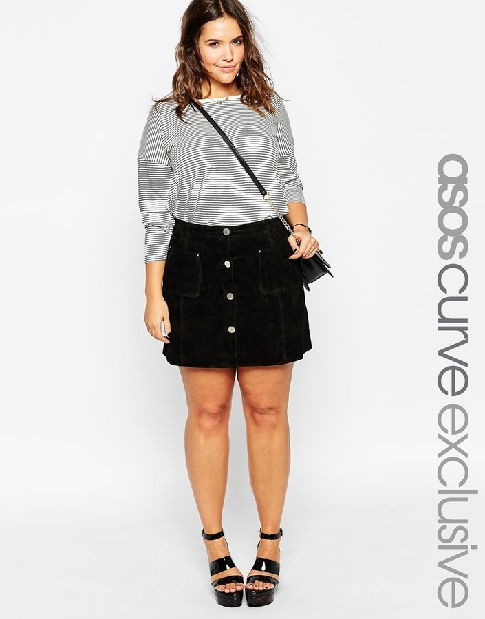 Asos Curve A Line Skirt In Suede | Where to buy & how to wear
