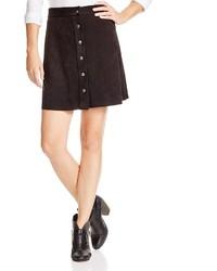 Aqua Faux Suede Snap Front Skirt