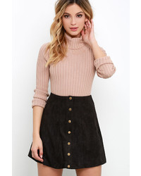 Honey Punch Suede My Day Black Suede Skirt