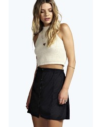 Boohoo Ione Button Front Suedette A Line Mini Skirt