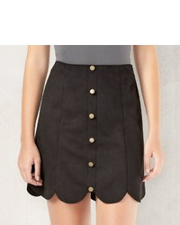 Lauren Conrad Lc Scalloped Faux Suede Skirt