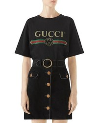 Gucci Suede Button Front Skirt