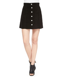 The gove pleated suede skirt super black medium 374184