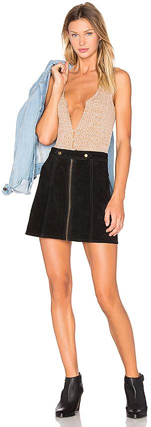 bd1b592c86 Understated Leather X Revolve High Waist Suede Zip Skirt In Black ...