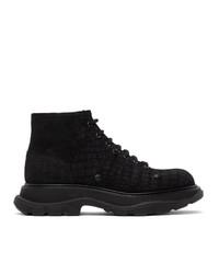 Alexander McQueen Black Croc Tread Boots