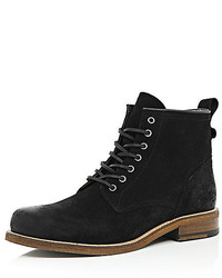 River Island Black Suede Lace Up Boots