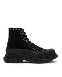 Alexander McQueen Black Suede Stud Tread Slick Platform Boots