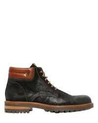 Waxed Lace Up Suede Boots
