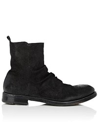 Elia Maurizi Wrinkled Vamp Oiled Suede Boots