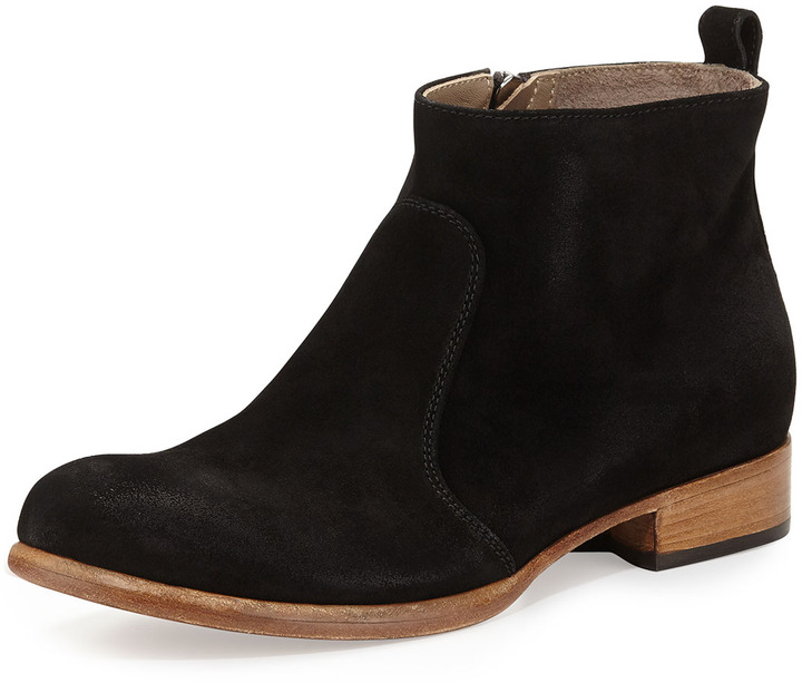 Alberto Fermani Nolita Flat Suede Ankle Boot Black | Where to buy ...