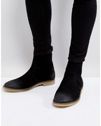 ASOS DESIGN Asos Chelsea Boots In Black Suede With Back Zip Detail With Sole