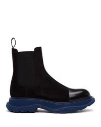 Alexander McQueen Black And Blue Suedechelsea Boots