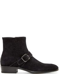 Black brushed suede boots medium 307687
