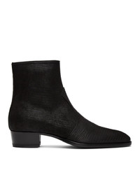 Saint Laurent Black Lizard Wyatt Zip Boots