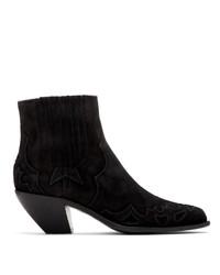Golden Goose Black Suede Sunset Flower Boots