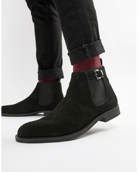 Pier One Chelsea Boots In Black Suede With