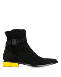 Off-White Contrast Heel Ankle Boots