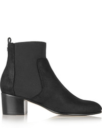 Jimmy Choo Hallow Coated Suede Ankle Boots Black
