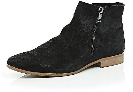River Island Black Suede Zip Up Ankle Boots | Where to buy & how ...