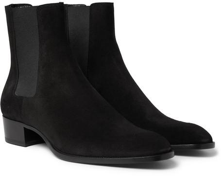 Saint Laurent Suede Chelsea Boots, $995