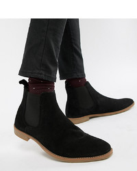 ASOS DESIGN Wide Fit Chelsea Boots In Black Suede With Sole