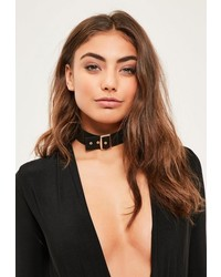 Missguided Black Faux Suede Choker Necklace