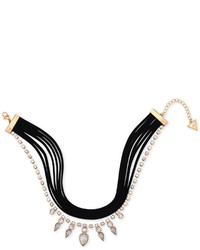GUESS Gold Tone Crystal Jet Faux Suede Choker Necklace
