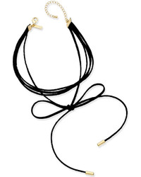 INC International Concepts Gold Tone Imitation Suede Tie Choker Necklace Created For Macys