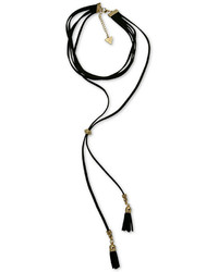 GUESS Gold Tone Jet Imitation Suede Tassel Choker Necklace