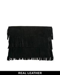 Asos Suede Heavy Fringe Clutch Bag Black