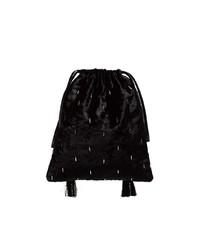 ATTICO Black Velvet Tassel Clutch Bag