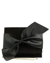 Victoria Beckham Bow Suede Satin Mini Clutch