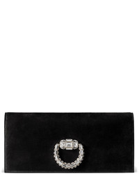 Gucci Broadway Suede Evening Clutch Bag Black