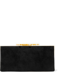 Jimmy Choo Celeste Embellished Suede Clutch Black