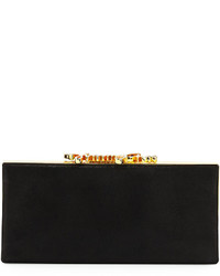 Jimmy Choo Celeste Logo Clasp Clutch Bag Black
