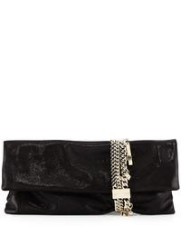 Jimmy Choo Chandra Shimmer Suede Chain Clutch Bag Black