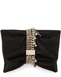 Jimmy Choo Chandra Shimmery Suede Clutch Bag Black