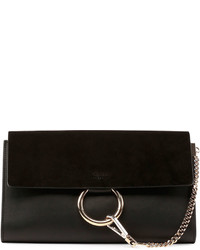 Chloé Chloe Faye Leather Suede Clutch Bag Black