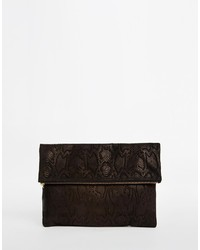 Asos Collection Suede Embossed Snake Clutch Bag