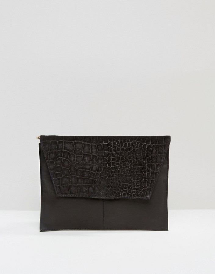 4bf0e8fb3 Asos Croc Embossed Suede And Leather Clutch Bag, $38 | Asos ...