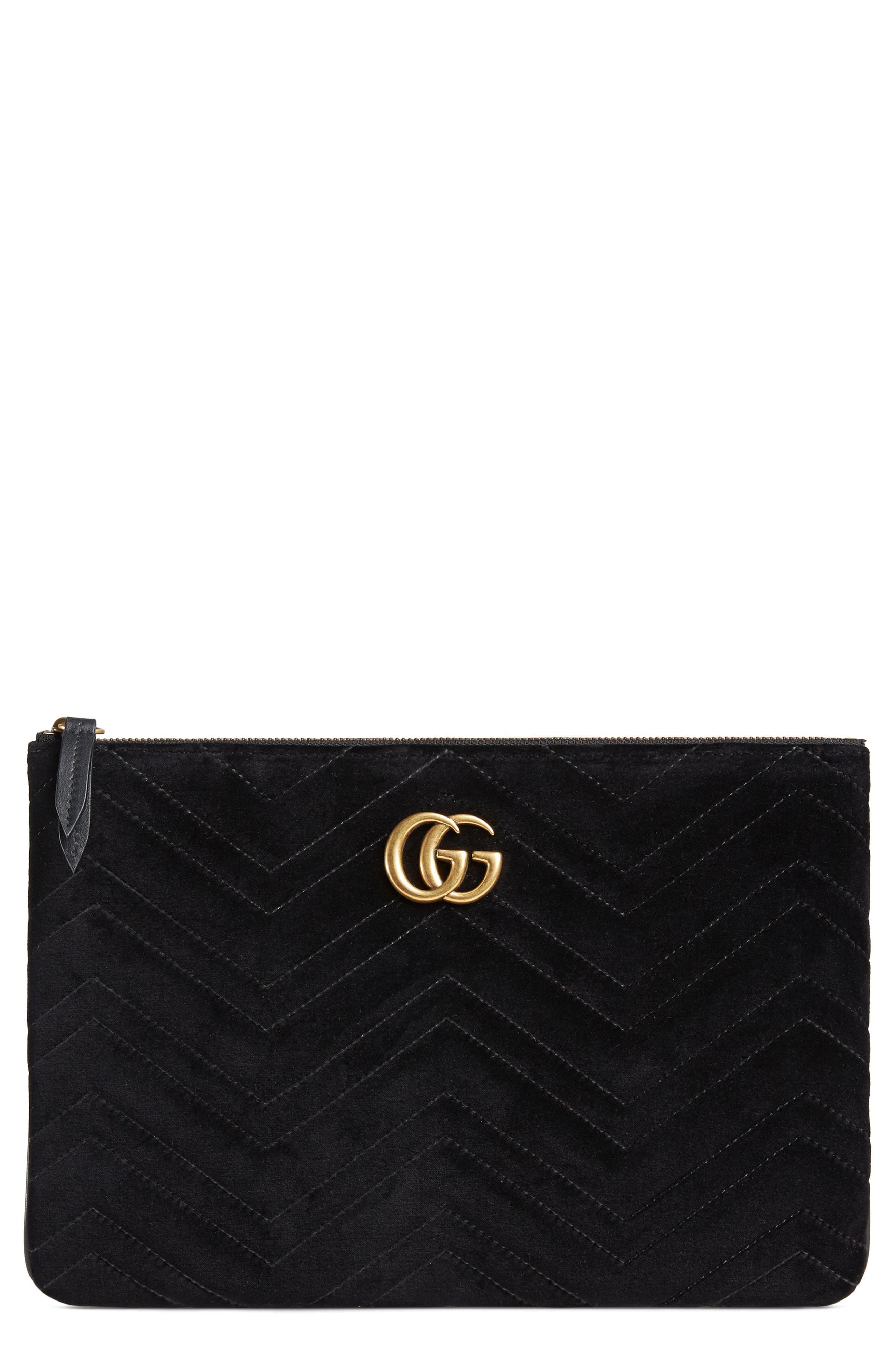 Gucci Gg Marmont 20 Matelasse Velvet Pouch