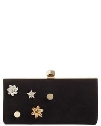Jimmy Choo Jewelled Collection Celeste Buttons Suede Clutch Black