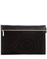 Victoria Beckham Large Zip Leather And Suede Clutch
